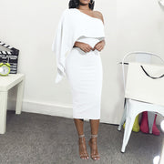 Off-The-Shoulder Ruffled Solid Color Evening Dress