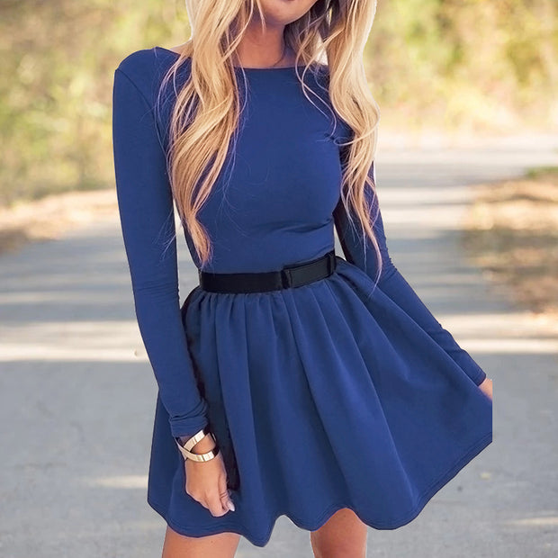 Fashion Sexy Slim Solid Color Long Sleeve Dress