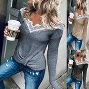 Lace Stitching Neckline Hem Twisted Long-Sleeved Sweater