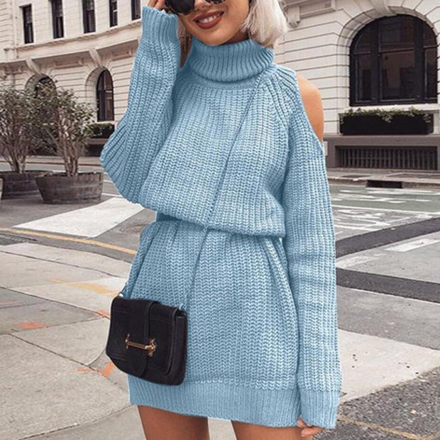 Fashion Simple Solid Color High Neck Strapless Mid-Length Sweater Dress