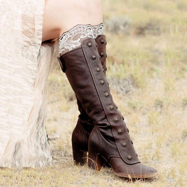 Rivet Round Head Long Tube High Thick Heel Boots