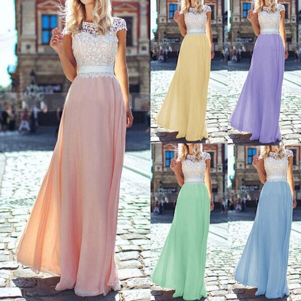 Lace Stitching Backless Chiffon Maxi Evening Dress