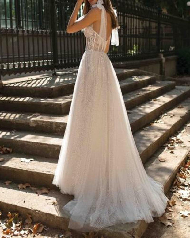 Backless Perspective Slit Wedding Dress