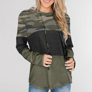 Casual Loose Hooded Pullover Long Sleeve Contrasting Color Hoodie