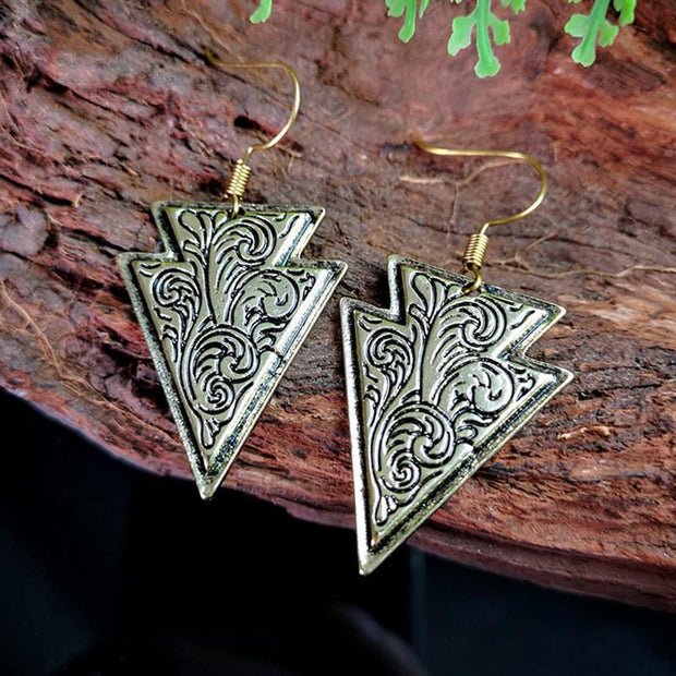 Bronze Embossed Floral Shield Earrings