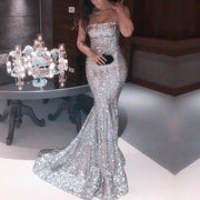 Fashion Shiny Sexy Tube Top Sequined Fishtail Evening Dress