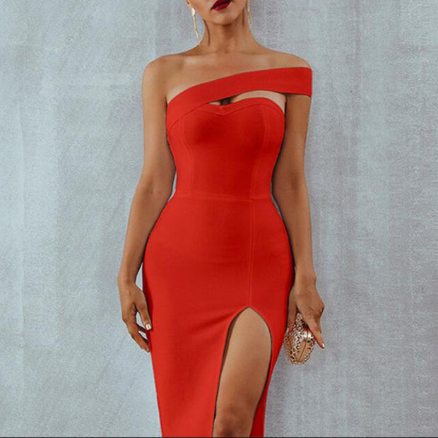 Off-The-Shoulder Split Bodycon Evening Gown