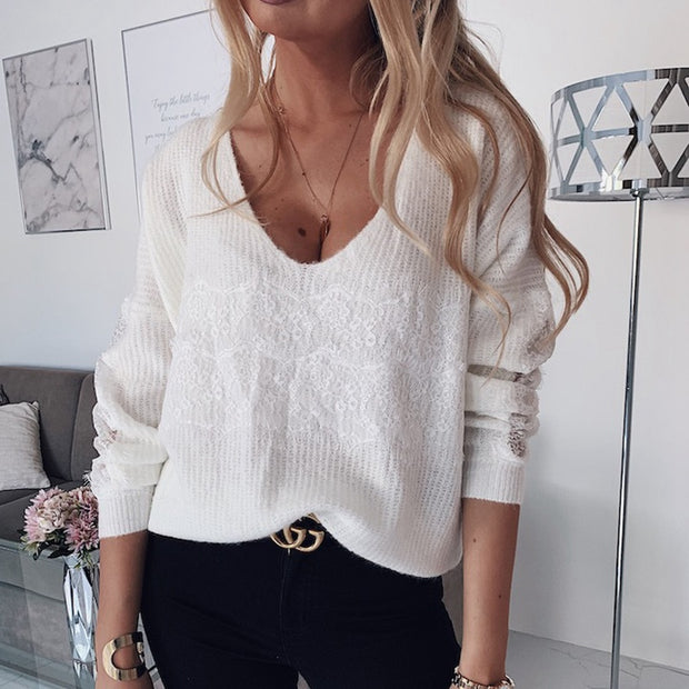 V-Neck Lace Stitching Sweater