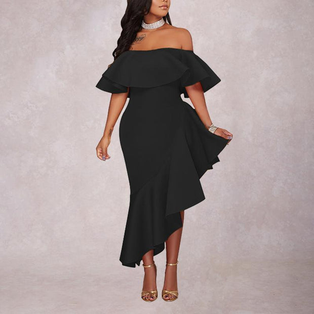 Sexy Fashion Off-The-Shoulder Solid Color Ruffled Dress