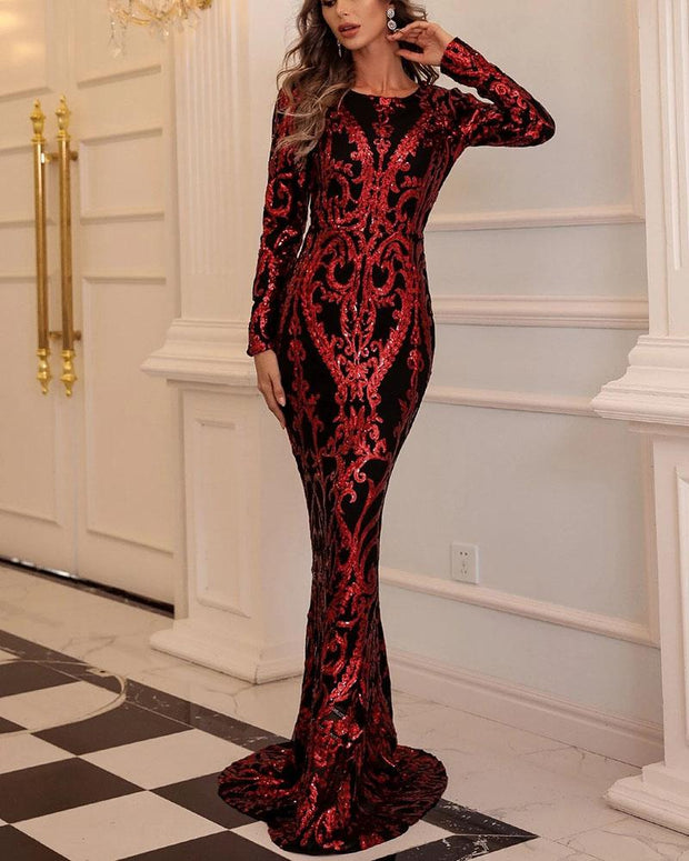 Long Sleeve Sequined Bodycon Maxi Party Evening Dress