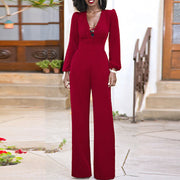 Sexy Bandage V-Neck Long Sleeve High Waist Jumpsuit