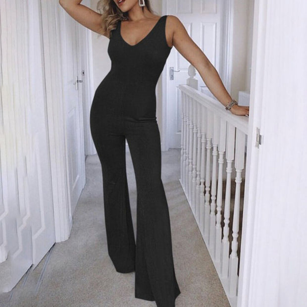Sexy V-neck Sleeveless Sling Jumpsuit