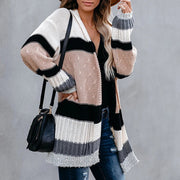 Multicolor Stripe Stitching Long Cardigan Sweater Coat