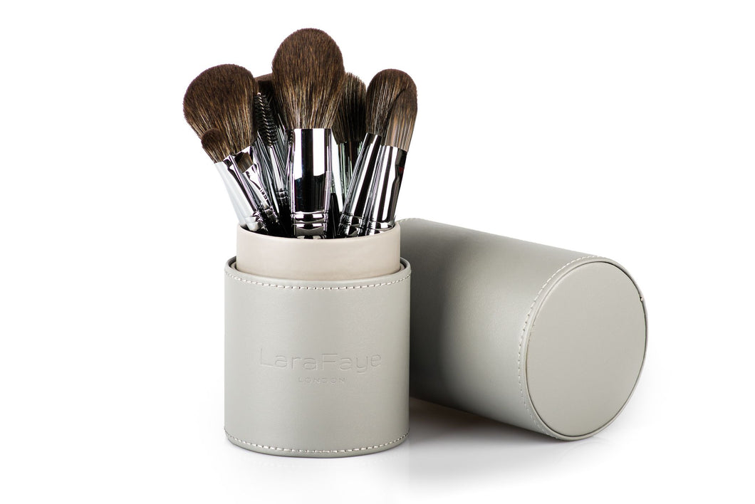 Complete Brush Set Including Leather Brush Holder