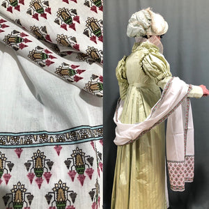 Flowered Muslin Reproduction Shawl