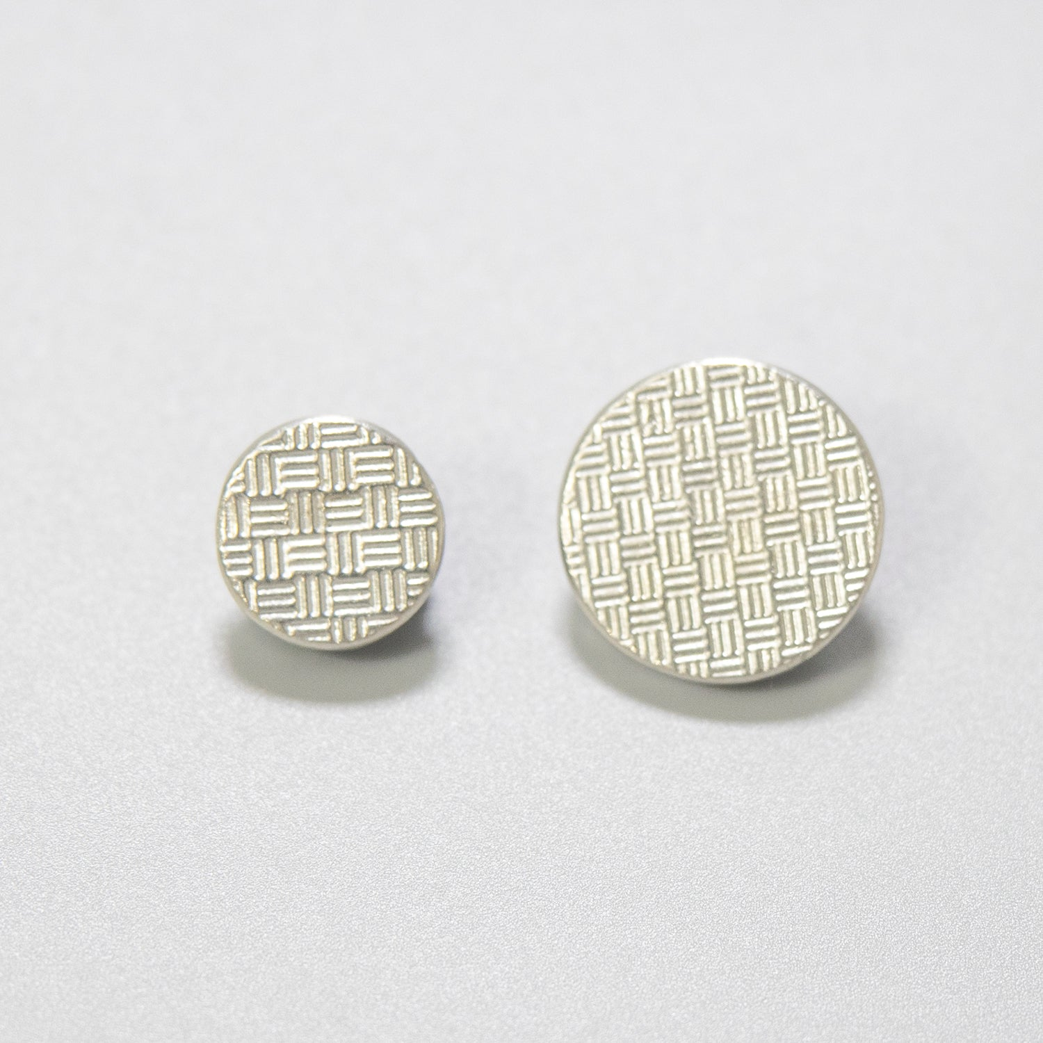 """Basket-weave"" Pewter Button - $.75 - $.85"