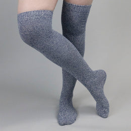 Mixed Blue and White Clouded Kneed High Cotton Stockings