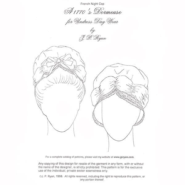 JP Ryan 1770 s Dormeuse Cap Pattern