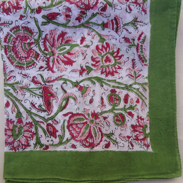 Pink, Red & Parrot Green Handkerchief
