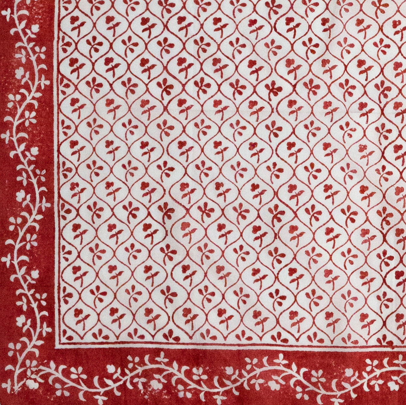 "Red & White ""Sprig'd"" Handkerchief"