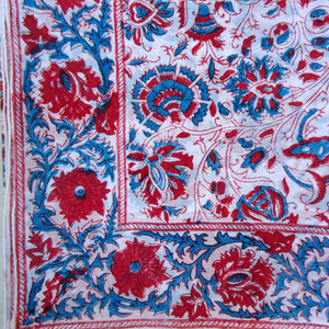 Red & Indigo Flowered Handkerchief