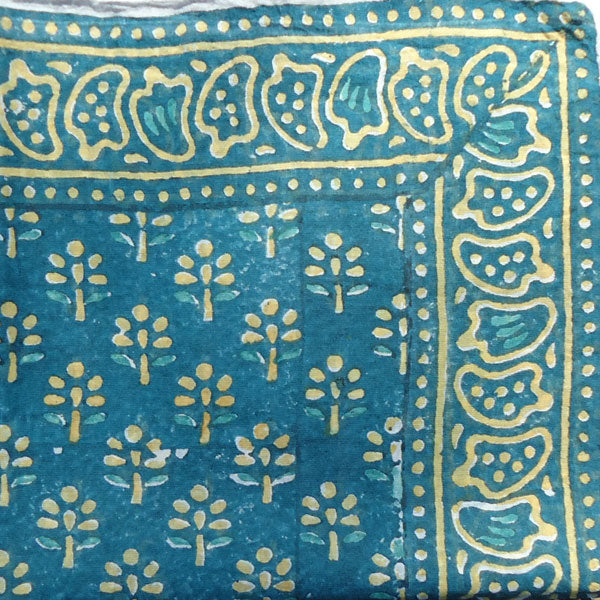 "Indigo & Yellow ""Flower'd"" Handkerchief"