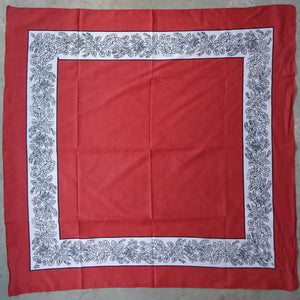 Red with Black & White Border Handkerchief