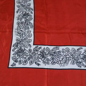 Red with Black & White Border Silk Handkerchief