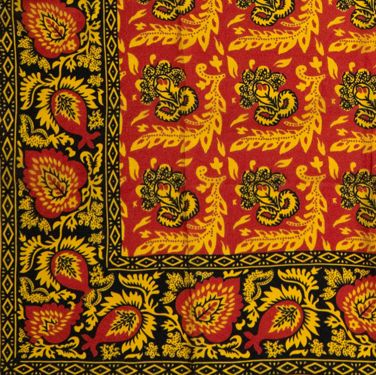 Red, Yellow & Black Flowered Silk Handkerchief