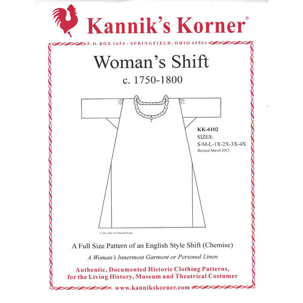 Kanniks Korner 1750-1800 English Shift Pattern