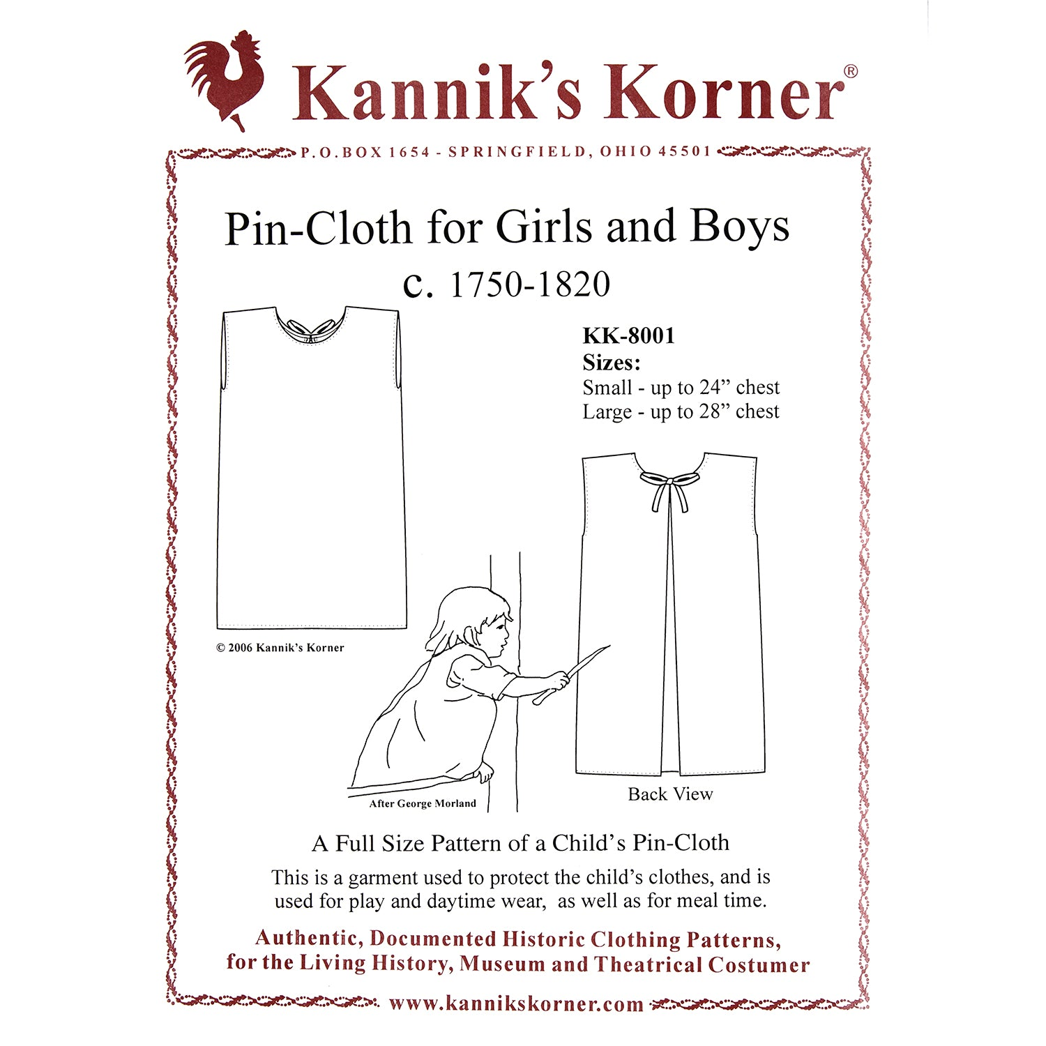 Kannik's Korner Pin Cloth for Girls & Boys 1750-1820