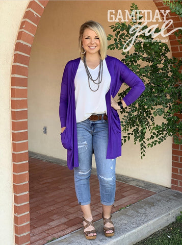 Purple Gameday Cardigan