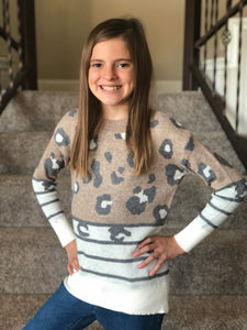Girls Spots & Stripes Leopard Sweater