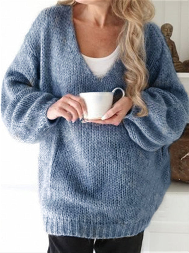 Autumn Casual Daily Basic V-neck Knitted Sweater