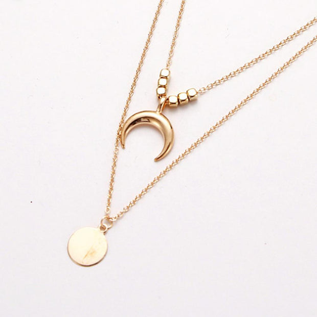 Vintage Multi-layer Disc Horns And Scallop Pendant Women's Necklace