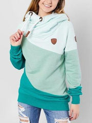 Fashion Langarm Kapuze Sweatshirt Lake Blue