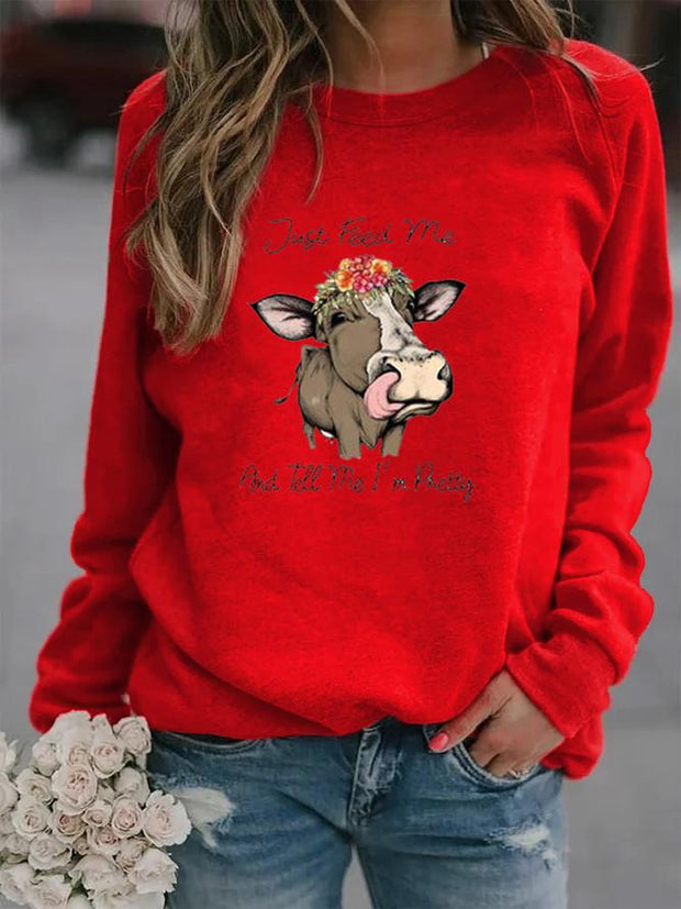 Just Feed Me Cattle Print Sweatshirt