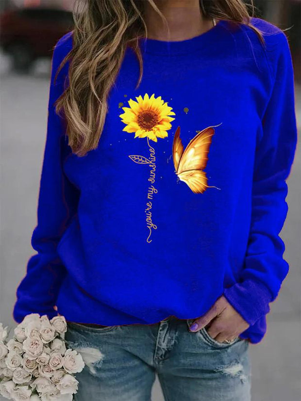 Butterfly and Sunflower Print Crew Neck Sweatshirt