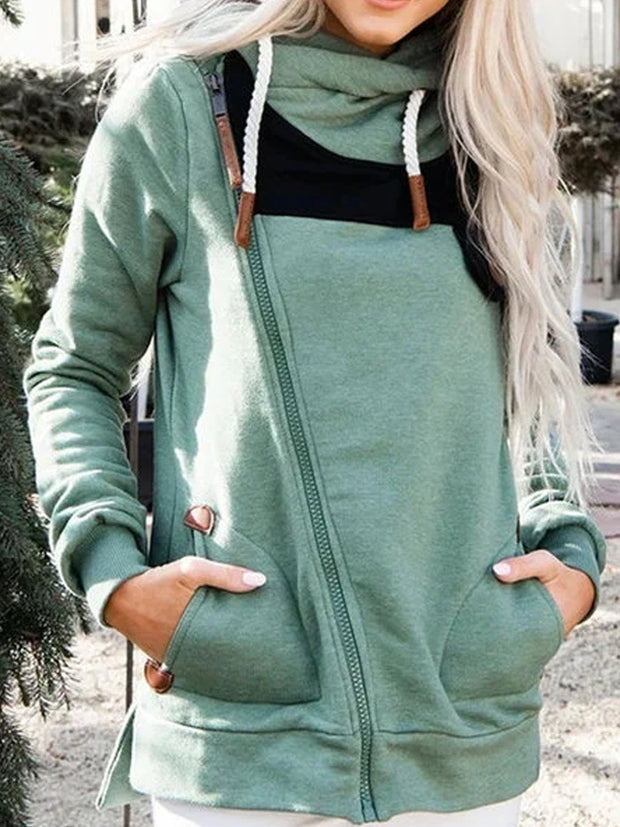 Irregular Color Blocking Loose Casual Long Sleeve Sweatshirt