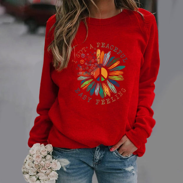 Small Daisy Print Long-sleeved Round Neck Sweatshirt