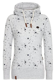 Women Printed Paneled Polyester Hoodie Casual SweatShirt