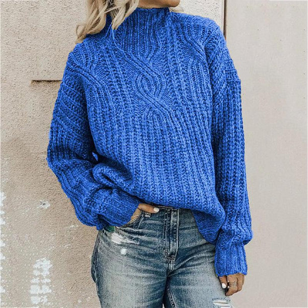 High Collar Twist Knitting Sweaters & Cardigans