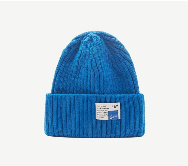 Label Solid Color Beanies Knit Hat