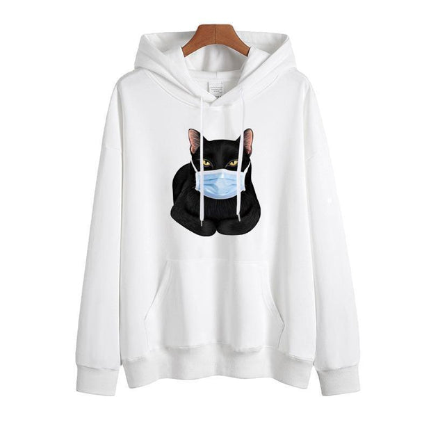 Muzzled Cat Pattern Solid Colors Sweatshirt