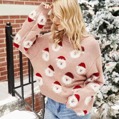 2020 Pink Santa Claus Print Thick and Warm Sweaters