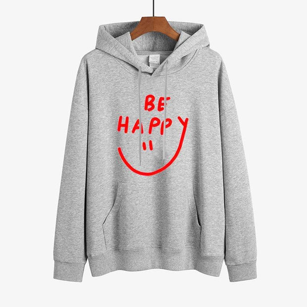 Be Happy Letter Solid Colors Sweatshirt