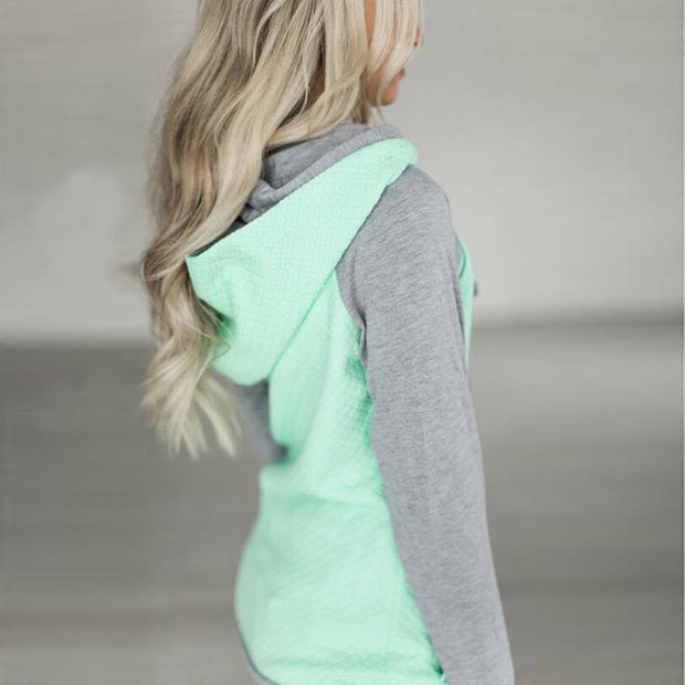 Women Color-block Casual Hoodie Sweatshirt