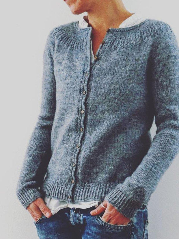 Solid Cotton Long Sleeve Casual Sweater