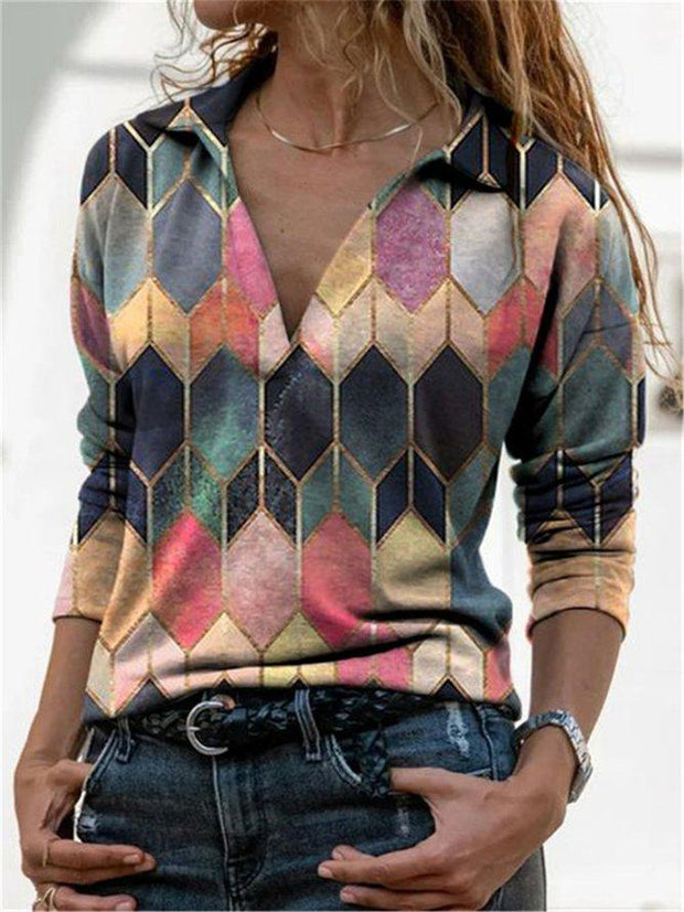 Color-Block Long Sleeve Shirt Collar Abstract Shirts & Tops