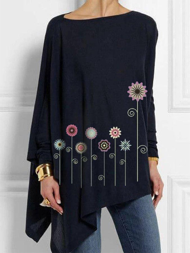 Long Sleeve Casual Floral Shirts & Tops